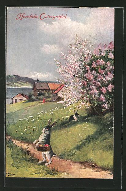 Künstler-AK Alfred Schönian: Ostergrüsse!, Idyll mit Osterhase