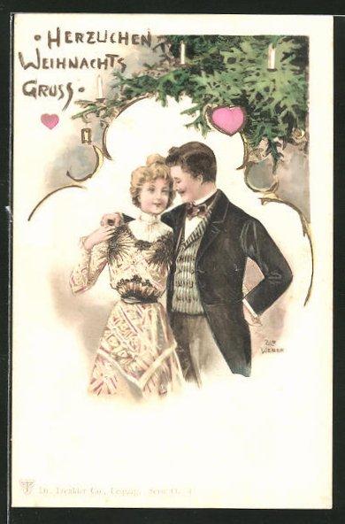 Künstler-Lithographie Ulrich Weber: Weihnachtsgruss, bürgerliches Paar