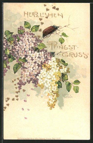 Künstler-Lithographie Ulrich Weber: Pfingstgruss, Maikäfer und Blüten