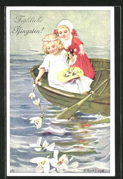 Künstler-AK E. Reckziegel: Pfingstgruss, Kinder streuen vom Boot Blumen ins Wasser