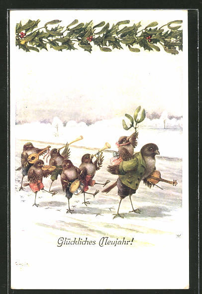 Künstler-AK C. Öhler: Neujahrsgruss mit musizierenden Vögeln, vermenschlichte Tiere
