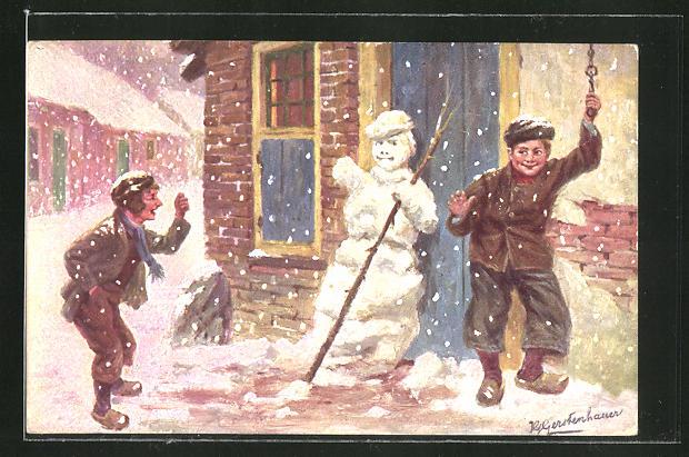 Künstler-AK Johan Georg Gerstenhauer: Lausbengel haben einen Schneemann vor einer Haustüre gebaut