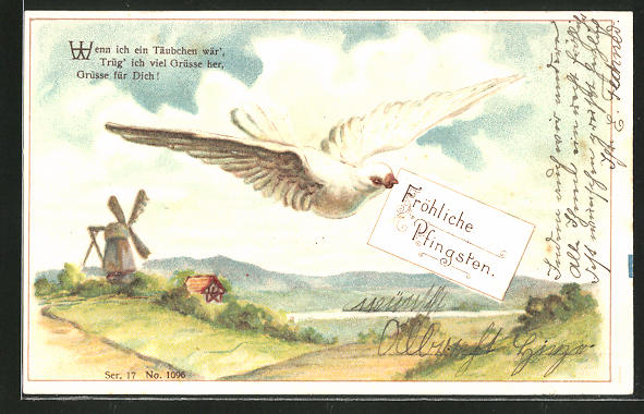 Präge-AK Weisse Taube mit Pfingstgruss im Schnabel