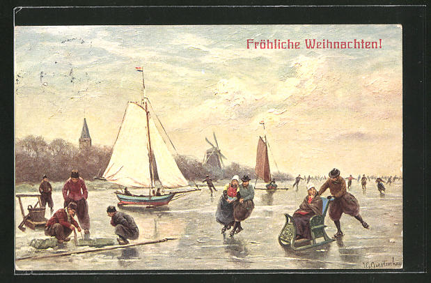 Künstler-AK Johan Georg Gerstenhauer: Fröhliche Weihnachten, Holländer beim Schlittschuhlaufen und Eisfischen