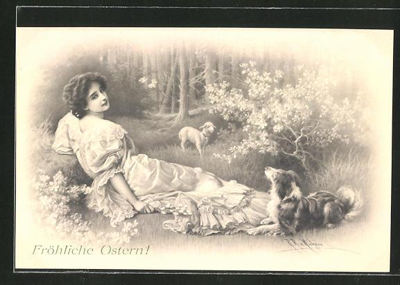 Künstler-AK Wichera: Fröhliche Ostern!, Junge Frau mit Hund und Osterlamm