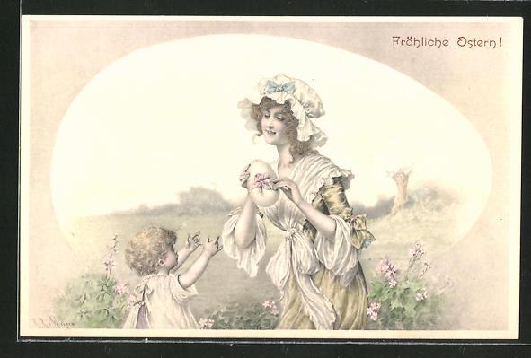 Künstler-AK Wichera: Fröhliche Ostern!, Frau überreicht ihrem Kind ein Osterei