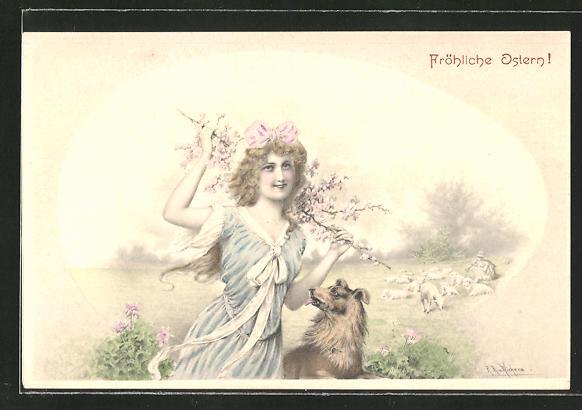 Künstler-AK Wichera: Fröhliche Ostern!, Junge Dame mit ihrem Hund