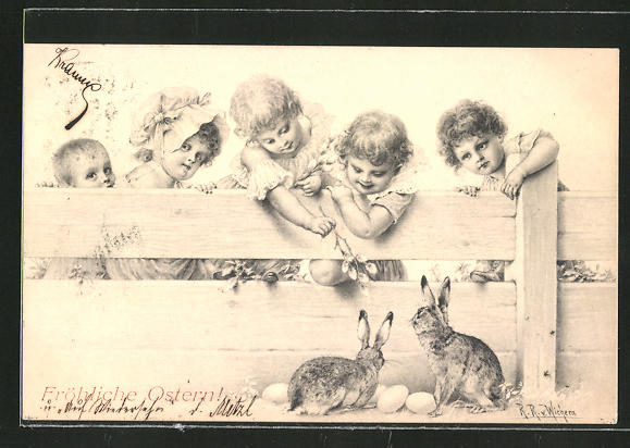 Künstler-AK Wichera: Fröhliche Ostern!, Kinder necken zwei Hasen