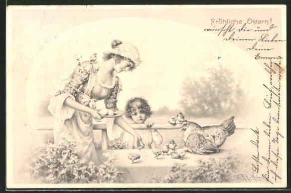 Künstler-AK Wichera: Fröhliche Ostern!, Mutter und Tochter füttern Osterküken