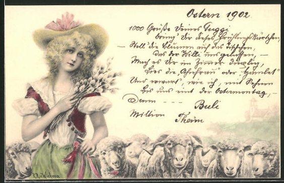 Künstler-AK Wichera: Schäferin mit Herde und Weidenzweigen
