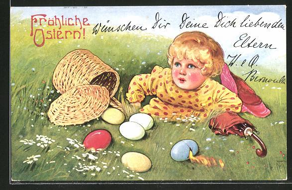 Künstler-AK Maxim Trübe: Fröhliche Ostern, Kind auf einer Wiese mit Ostereiern