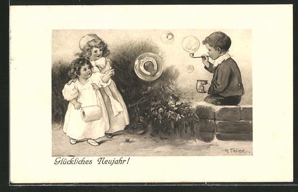 Künstler-AK Maxim Trübe: Glückliches Neujahr, Kleiner Seifenbläser und staunende Mädchen