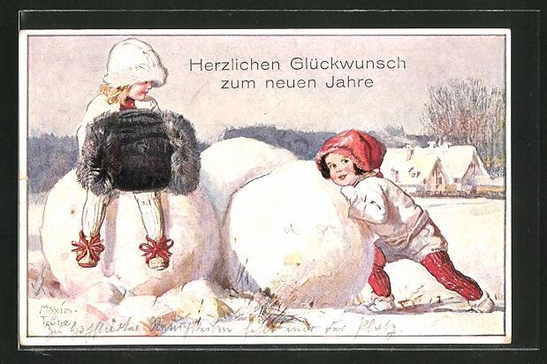 Künstler-AK Maxim Trübe: Neujahrsgruss, Kinder rollen Schneekugeln