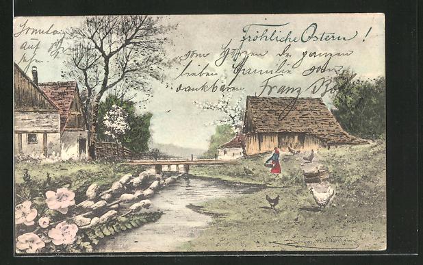 Künstler-AK sign. Heinrich Wertheim: Fröhliche Ostern, Bauernhof am Fluss