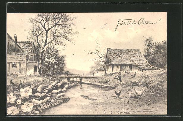 Künstler-AK sign. Heinrich Wertheim: Fröhliche Ostern, Bauernhof am Fluss, Weidenzweige