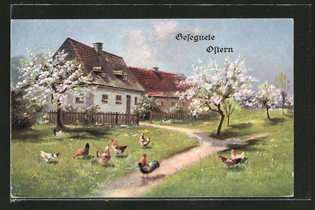 Künstler-AK Alfred Schönian: Gesegnete Ostern, Hühner auf der Wiese vor einem Haus