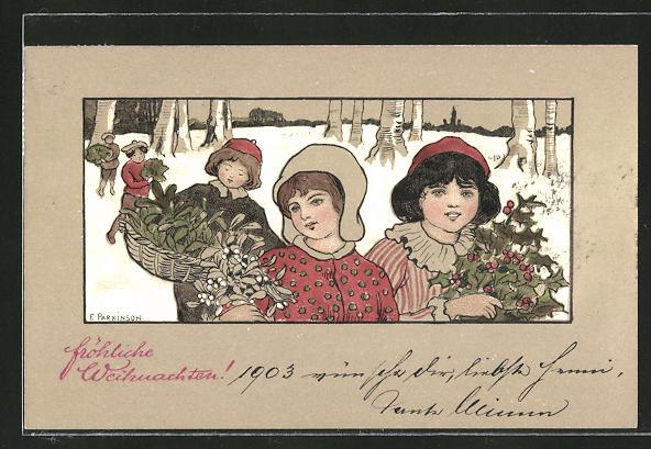 Künstler-AK Ethel Parkinson: Fröhliche Weihnachten, Kinder mit Misteln und Stechpalmen