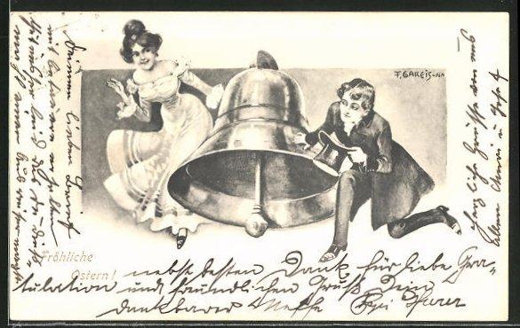 Künstler-AK F. Gareis: Fröhliche Ostern!, Paar spielt Verstecken hinter einer Glocke
