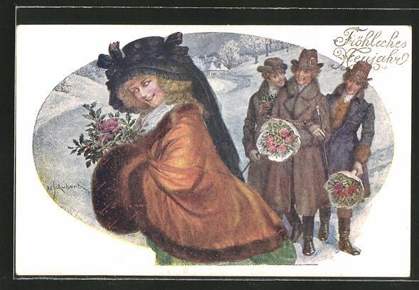 Künstler-AK H. Schubert: Fröhliches Neujahr, Dame mit ihren Verehrern