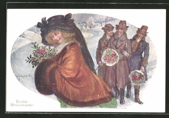 Künstler-AK H. Schubert: Weihnachtsgruss, Dame mit ihren Verehrern