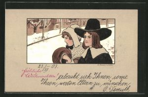 Künstler-AK Ethel Parkinson: Fröhliche weihnachten, Junges Paar auf einer Strasse