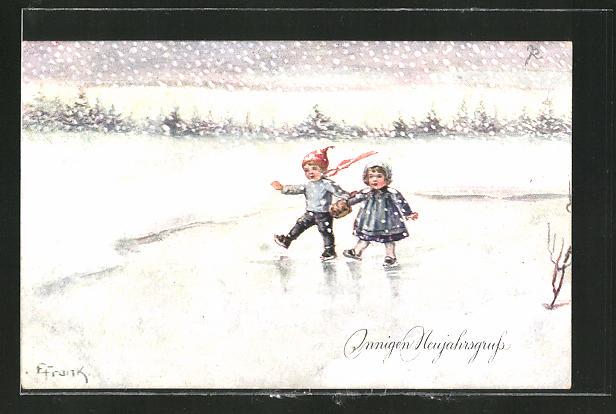 Künstler-AK Elly Frank: Innigen Neujahrsgruss, Kleines Paar beim Schlittschuhlaufen