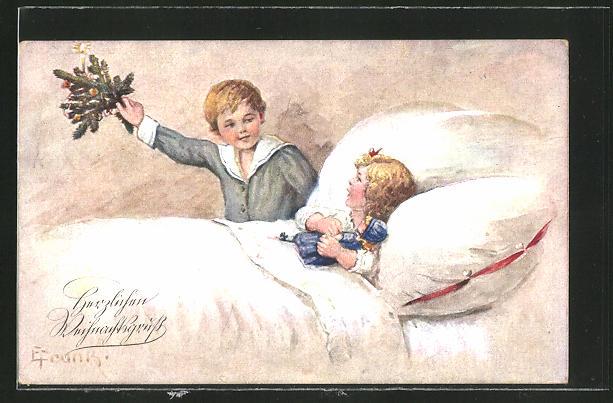 Künstler-AK Elly Frank: Weihnachtsgruss, Knabe überrascht sein Schwesterchen mit einem Weihnachtsgesteck