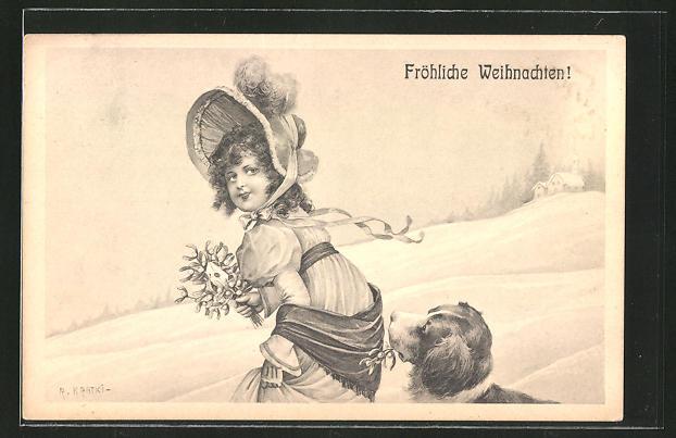 Künstler-AK R. Kratky: Fröhliche Weihnachten, Mädchen mit Hund