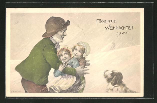 Künstler-AK R. Kratky: Fröhliche Weihnachten, Vater schliesst seine Töchter in den Arm