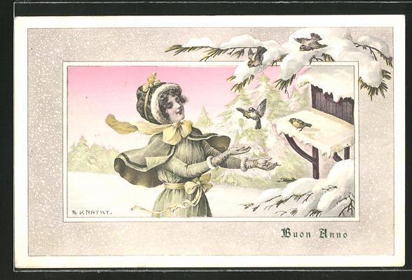 Künstler-AK R. Kratky: Buon Anno, Dame füttert die Vögel im Winter