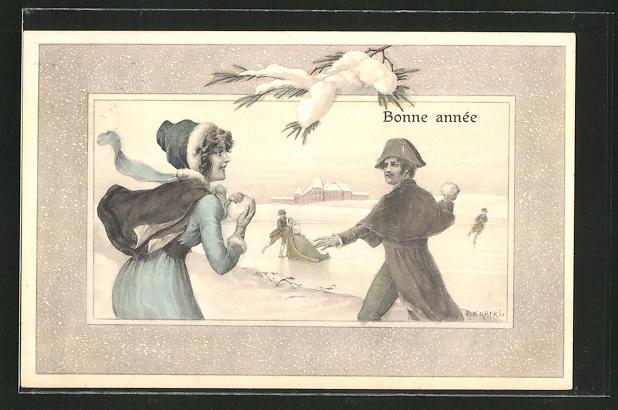 Künstler-AK R. Kratky: Bonne année, Paar bei einer Schneeballschlacht