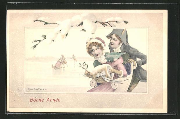Künstler-AK R. Kratky: Bonne Année, Kavalier fährt seine Liebste übers Eis
