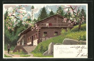 Künstler-AK Alfred Mailick: Maibaum auf dem Dach eines Hauses,