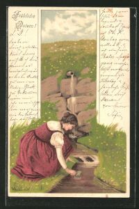 Künstler-AK Alfred Mailick: junge Frau holt Wasser