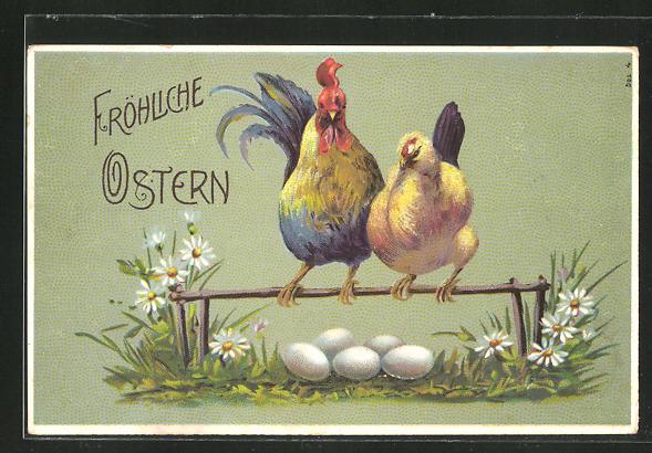 Präge-AK Hühnerpaar auf der Stange betrachtet die Eier,
