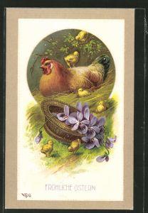 AK Henne liegt im Stroh mit Küken, Ostern