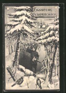 AK Kind als Zwerg unter verschneiten Tannenbäumen