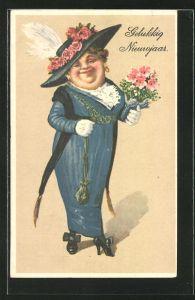 AK Neujahr, Alte Dame in blauem Kleid mit Blumenstrauss