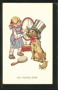 AK Neujahr, Mächen kleidet ihren Hund mit einem Zylinder