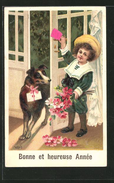 AK Neujahr, Knabe mit Blumenstrauss öffnet die Tür für seinen Hund