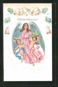 Lithographie Fröhliche Weihnachten!, Weihnachtsengel mit Blüten