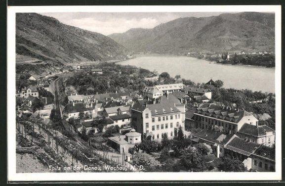 AK Spitz a. d. Donau, Gesamtansicht aus der Vogelschau