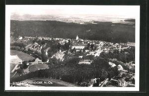 AK Drosendorf, Ortspanorama aus der Luft gesehen