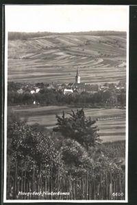 AK Haugsdorf, Ortspanorama mit Kirchturm