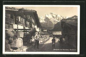 AK Gsteigwiler b. Interlaken, Partie aus der Dorfstrasse mit Häusern und Blick auf die Alpen