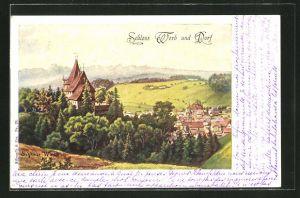 Künstler-AK Worb, Blick auf Schloss und Dorf