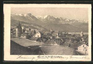 AK Zug, Ortsansicht mit den Berner-Hochalpen