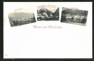 AK Domleschg, Ortsansichten von Fürstenau, Schloss Rhäzüns, Scharans