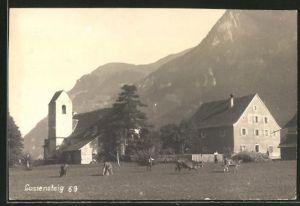 Foto-AK Luziensteig, Partie mit Restauration, Kirche und Alpenmassiv