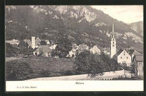 AK Malans, Ortspartie mit Kirche im Gebirge